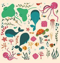 Collection colorful sea and ocean animals vector