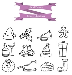 Collection of Christmas holiday hand draw vector
