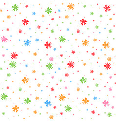colorful seamless pattern of falling snowflakes vector image