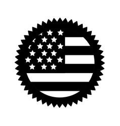 Contour emblem with flag of usa inside vector