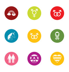 couple icons set flat style vector image