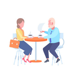 Couple man woman sitting cafe table businesspeople vector