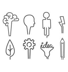 creative idea icons cartoon flat brainstorm vector image