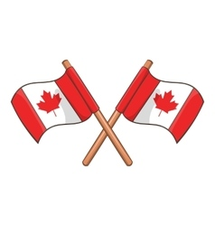 Crossed Canada flags icon cartoon style vector