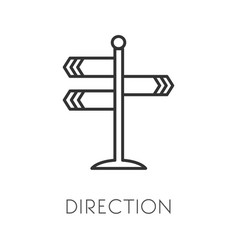 Crossroad or intersection direction pointer vector