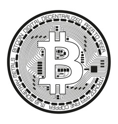 Crypto currency black coin with black lackered vector