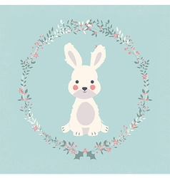 Cute baby bunny rabbit in Christmas flower vector