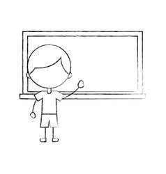 Cute boy with chalkboard character icon vector