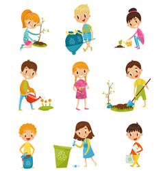 Cute kids gardening and picking up garbage set vector