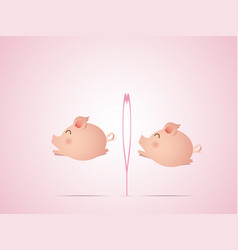 cute pig jumping with heart shape vector image