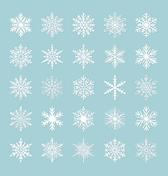 Cute snowflakes collection isolated on blue vector