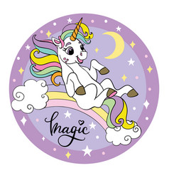 cute unicorn rolling down rainbow circle vector image