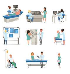 Diagnostic and treatment cancer set doctors vector