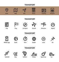 Different line style icons set Transport vector image