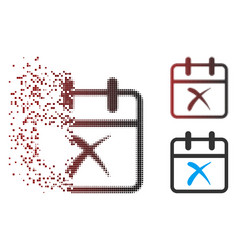 Dissolved pixel halftone cancel day icon vector