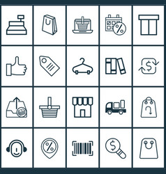 ecommerce icons set with store sales day barcode vector image