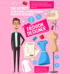 Fashion designer with tailor and dressmaker tool vector