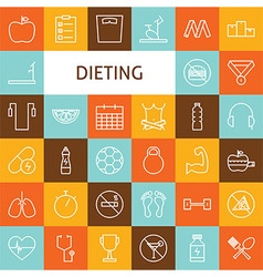 Flat line art modern sport and dieting icons set vector