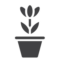 Flower in pot solid icon plant and decor vector