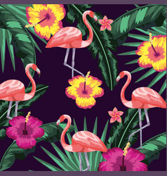 flowers with flamingos and leaves plants vector image