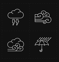 Four flat modern weather icons vector