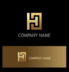 gold letter h square logo vector image