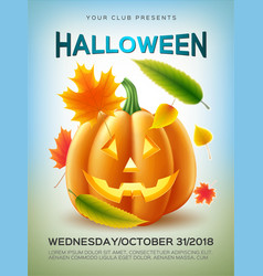 Halloween pumpkin autumn leaves vector