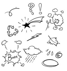 hand drawn doodle element collection isolated vector image