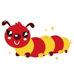 Happy cartoon caterpillar vector image