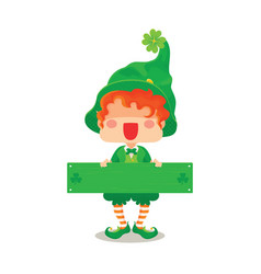 happy st patricks day leprechaun greeting sign vector image
