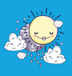 Happy sun and moon with sad clouds vector
