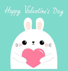 happy valentines day white rabbit hare puppy head vector image