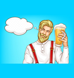 hipster man with glass full beer cartoon vector image