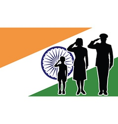 India soldier family salute vector