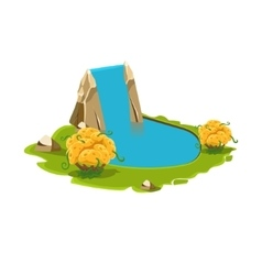 Island with a Lake and Waterfall vector