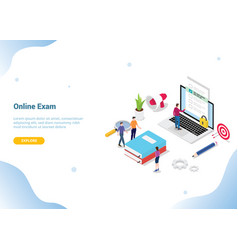 isometric 3d online exam or course concept for vector image