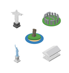 Isometric architecture set of rio chile new york vector
