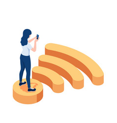 isometric woman standing on wifi symbol and using vector image
