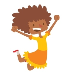 Jumping afro girl vector