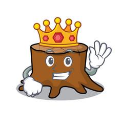 king tree stump mascot cartoon vector image