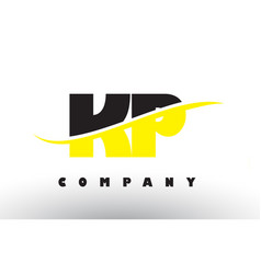 kp k p black and yellow letter logo with swoosh vector image