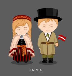 latvians in national dress with a flag vector image