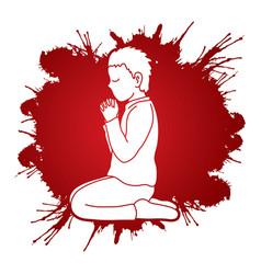 little boy praise god prayer christian praying vector image