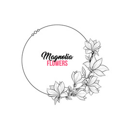 Magnolia contour drawing branch round frame for vector
