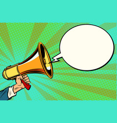 Megaphone and comic bubble vector