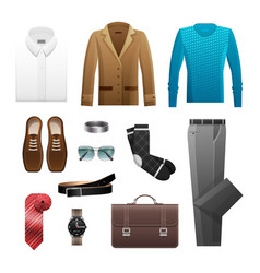 Men s outfits set for everyday life on white vector