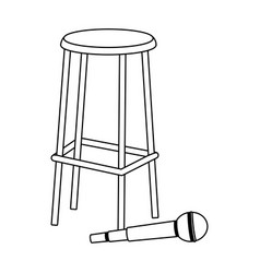 Microphone and bar stool flat design vector