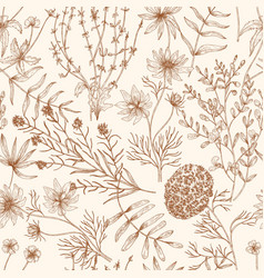 monochrome seamless pattern with wild blooming vector image