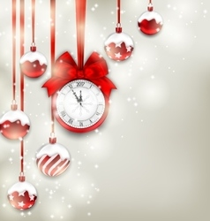 New Year Magic Background with Clock and Glass vector image