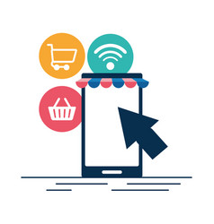 online shopping cellphone vector image